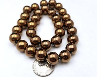 32 Brown Metallic Glass Beads 10mm bronze (H9137)