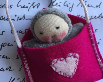 Necklace Love Letter, small handmade Waldorf doll