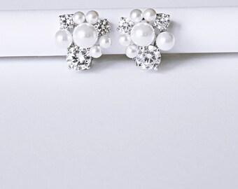 Diamante Pearl Bridal Earrings Wedding Earrings Cocktail Earrings Corporate Gifts