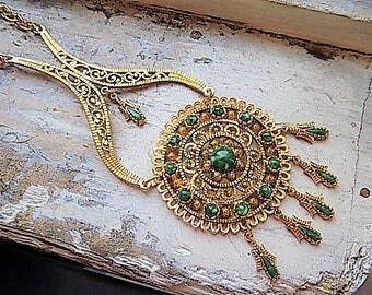 Vintage Statement Necklace Filigree with Green Stone Accent