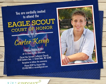 EAGLE SCOUT Court of Honor Invitation - Boy Scouts Invitation - Banquet Announcement - Award Ceremony Invite - With or without photo