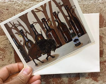 Queen City Beer Buffalo Card - Buffalo Art Card -  Blank Inside - Buffalo NY - Buffalove - Beer Art - Bison Card - Contemporary Art Card