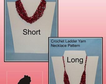 Pattern Crochet Ladder Yarn Necklace, crochet necklace pattern, crochet necklace, ladder yarn