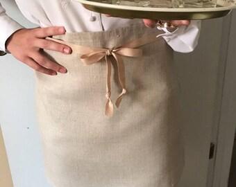 Linen apron, cafe apron, Half apron