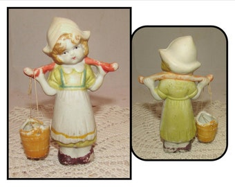 Vintage Ceramic Dutch Girl Figurine w/ Water Bucket, Made in Japan