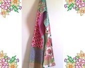 Long Patchwork Scarf. Soft PInks and Greens. Silks, Cottons, Roses and Lace. Unique one of a kind. Upcycled and Vintage Fabrics.