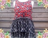 Medium. Animal print meets plaid, darling little babydoll tunic dress / top.  upcycled preloved eco fashion refashioned altered clothing