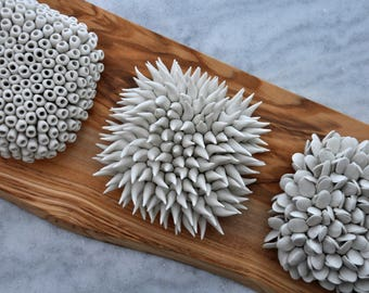 Set of 3 Micro Tiles - Set of 3 Wall Art Ceramic Scupture Porcelain Wall Art Wall Tiles