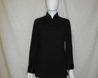 Closing Shop 40%off SALE 90s Vintage Black Cheong Sam Top, Long Sleeve Asian Blouse