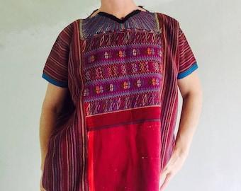 Vintage Todos Santos Hand-Woven Guatemala Huipil. Boho Beauty