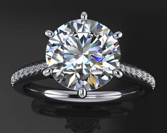tatum ring - 1.9 carat diamond cut round NEO moissanite engagement ring, round engagement ring