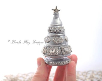 Miniature Rhinestone Christmas Tree Sculpture Silver Shabby Holiday Decoration Mixed Media Sculpture Lorelie Kay Original