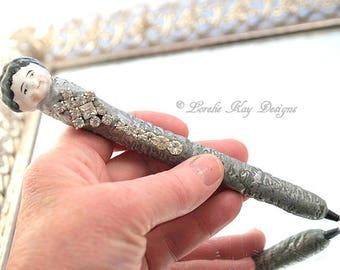 Frozen Charlotte Doll Head Pen Functional Art Writing Refillable Pen Lorelie Kay Designs Original
