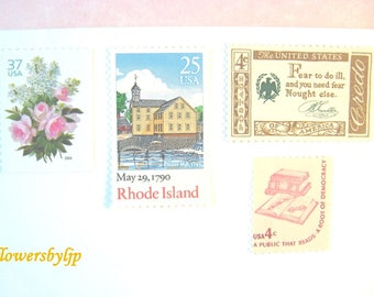 Pink + Gold Postage Stamps, Pink White Floral Bouquet - Vintage Books - New England Mill Stamps, 70 cent postage Mail 20 Wedding Invitations