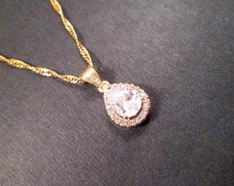 Cubic Zirconia Necklace, Drop Pendant Necklace, Gold Chain Necklace, FREE Shipping U.S.