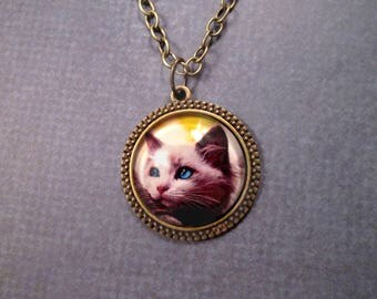 CAT Pendant Necklace, Glass Cabochon and Photo Art Print Necklace, Brass Chain Necklace, FREE Shipping U.S.