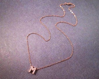 """Letter """"M"""" Pendant Necklace, Cubic Zirconia Pave Charm, Rose Gold Chain Necklace, FREE Shipping U.S."""