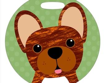 Luggage Tag - French Bulldog Brindle - Round Plastic Bag Tag