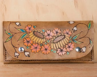 iPhone Wristlet Wallet - Womens Leather Wallet with Flowers - Bloom Pattern in Pink, Yellow and Antique Brown - iPhone 6 7 8 10 and Plus