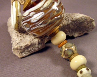 Artisan Handmade Lampwork Beads by Monaslampwork on Etsy Glass Beads Bohemian Organic Boho Necklace Bracelet Mona Sullivan Lampwork (3990)