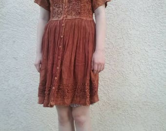 Vintage 90s brown embroidered babydoll hippie dress