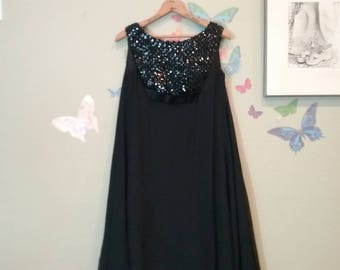 Vintage 60s LBD chiffon tent party dress - Mad Men- retro