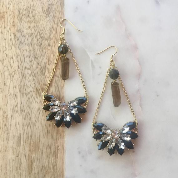 Lydia Rhinestone & Crystal Point Statement Earrings