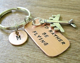 I'd Rather Be Flying Keychain, Pilot keychain, Airplane Keychain, airplane charm, pilot gift, aviator, planes, optional initial disc