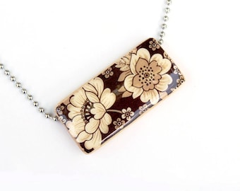 Vintage Garden Floral Pendant Necklace - A Recycled Bamboo Tile Pendant - Brown and Cream Flower Necklace
