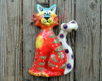 Sitting Cat, Ceramic Wall Hanging, Cat, Cat Art, Cat Sculpture, Ceramic Cat, Cats, Handmade by Dottie Dracos, 616174