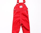 vintage healthtex 18 mo 18months baby bright red overalls vtg 18mos all american retro made in USA american made colorful