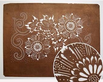 "Vintage Japanese Katagami Stencil Persimmon Paper ""Arabseque Floral"""