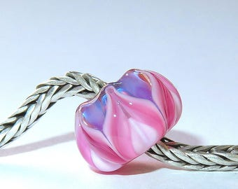 Luccicare Lampwork Bead - Fairy&Pink Lotus -  Lined with Sterling Silver