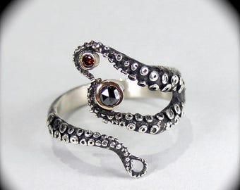 SALE SALE - Wicked Tentacle Ring w/ Red Cognac and Black Diamond, Wedding Band, Engagement Ring, Occasion