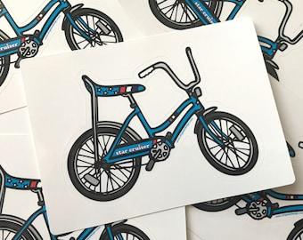 Star Cruiser Bike Sticker - Star Cruiser Banana Seat Retro Bicycle Sticker - Cruiser Bike Retro Decal by Oh Geez! Design - Red White Blue