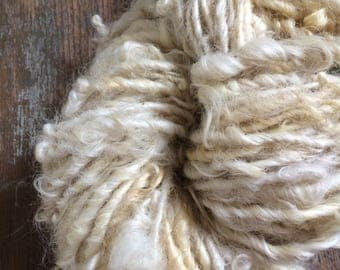 Creamy white Lincoln wool locks yarn, 52 yards, bulky chunky curly handspun, rustic art yarn, curly white yarn, undyed art yarn, doll hair