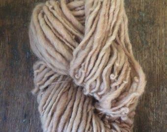 Madder root dyed, handspun naturally dyed local wool yarn,  72 yards single ply bulky weight, peach handspun yarn,