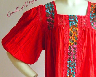 Vintage Red Embroidered Mexican Dress / Size 10 12 14 Medium / PINTUCK Cotton Smock Sheer Yoke Puffy Sleeves / Boho Resort