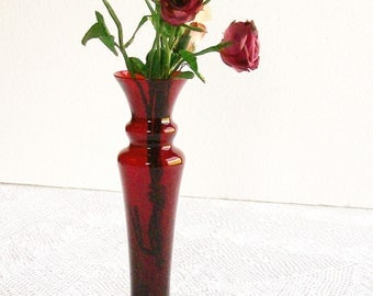 Vintage Ruby Red Glass Bud Vase Tall Elegant Shape for Holidays Wedding Vanity Tables