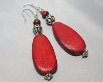Boho Red Wood Earrings