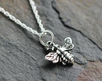 Bee Jewelry - Bee necklace - Bee lover gift - Bee keeper gift - Sterling honeybee necklace - Flower lover necklace - Bee enthusiast necklace