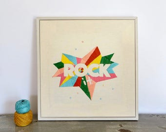 Rock it Embroidery, Embroidery art, Embroidery illustration, Hand embroidery, Modern wall hanging, modern embroidery.