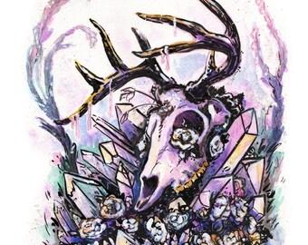 Crystal Deer Skull Print