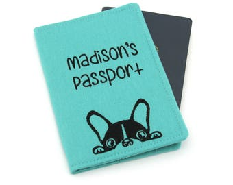Mint Cute Dog with Personalized Name Passport Cover, Monogram Passport, Embroidered Passport Cover, Passport Holder, Pug, Boston Terrier Dog