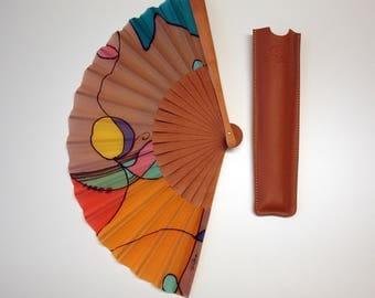 Handpainted Silk hand fan- Wedding hand fan- Abanico - Giveaways-Bridesmaids- Spanish hand fan 14 x 7.5 inches (35 cm x 19 cm)