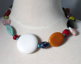 Necklace short colorful mix of gemstones and beads statement Many Treasures