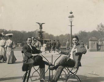 vintage photo 1909 Men Sit Have Tea Central Park Mall Bethesda Fountain New York