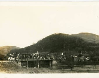 vintage photo 1920 Train Trestle Bridge Across Alleghany River PA