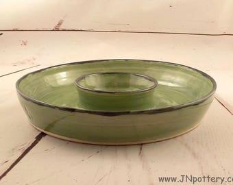 Ceramic Chip and Dip Platter - Wheel Thrown Stoneware Appetizer Server - Shrimp Plate - Ready to Ship - Celadon Green with Black Rims s535