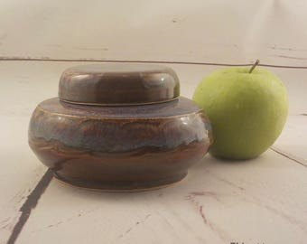 Ceramic Jar - Lidded Treasure Pot - Home Décor - Whatnot Jar - Bureau Item - Ready to Ship - Valentines Day Gift - Brown Blue Green v639